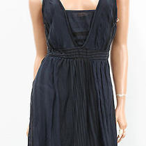 Nwt Anthropologie Testament Blue Striped v-Neck Tie Back Dress Skirt Size Large Photo