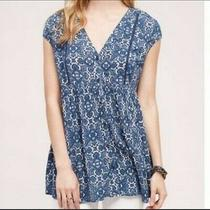 Nwt Anthropologie 'Vanessa Virginia' Blue Mosaic Medium Rayon Tunic Photo