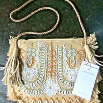 Nwt Antik Batik Cuzco  Crossbody Clutch Tan White Straw Stunning 10 X 9 X 1 Photo