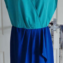 Nwt Apt 9 Stylish Blouson Mock Wrap Dress 2tone Aqua Blue Sleeveless Knee M Photo