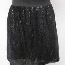 Nwt Aqua Black Sequined Elastic Waist Above Knee Skirt Size Medium 88 Photo