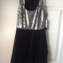 Nwt Aqua Black / Silver Tulle Beaded  Cocktail Dress Size 0 Retail 188 Photo