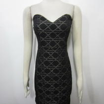 Nwt Aqua Bloomingdales Black Geometric Print Strapless Stunning Tube Dress Sz M Photo