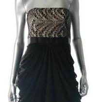 Nwt Aqua New Strapless Black Semi Formal Dress Lace Padded Bust 8 Photo