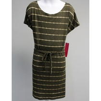 Nwt Aqua Olive Green Gold Stripe Short Sleeve Belted Knee Length Dress Sz L 68 Photo