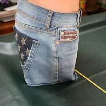 Nwt Arden B Hippster Cut Off Sequin Flag Denim Shorts Size 6 49.00 Photo