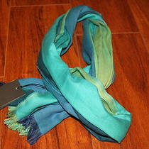 Nwt Armani Exchange Men's Colorblock Scarf Muffler Green and Blue Cotton 100% Photo