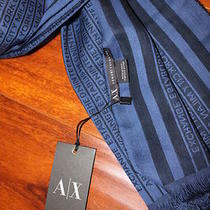Nwt Armani Exchange Men's Logo Scarf Muffler Navy and Black Cotton 100% Photo