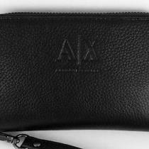 Nwt Armani Exchange Zipper Iphone 3 4 5 Wristlet Wallet Black Leather Womens Ax Photo