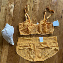 Nwt Auden 36b Lace Bra and Panty Lingerie Set Yellow Lacy Mesh Photo