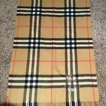 Nwt Auth Burberry Tan Plaid Check 100% Cashmere Scarf Made in Scotland 80x27 Photo