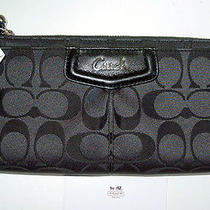 Nwt Auth Coach Ashley Gray Logo Sateen/black Leather Large Wallet/mint Beauty Photo