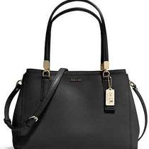 Nwt Auth Coach Madison Christie Saffiano Carryall Black Tan Lacquer Blue 30128 Photo