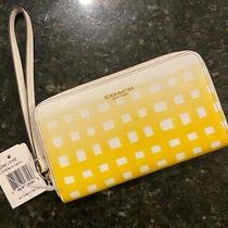 Nwt Auth Coach White Sunglow Yellow Wristlet in Gingham Saffiano Leather Wallet Photo