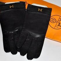 Nwt Auth Hermes Logos Wrist Gloves Leather Black Gold H Size 7 Vntg. France Photo