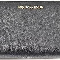 Nwt Auth Michael Kors Adele Double Zip Black Leather Wallet Msrp 168.00 628m Photo