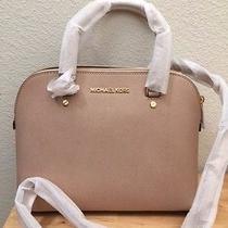 Nwt Auth Michael Kors Mk Cindy Medium Blush Satchel Leather Bag 258 Dust Bag  Photo