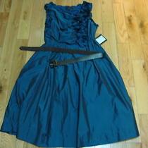 Nwt Auth Robert Rodriguez Floral-Trim Belted Taffeta Dress Us4 Photo