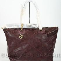 Nwt Auth Tory Burch Lysa Satchel Distressed Leather Stitched Tote Deep Berry Photo