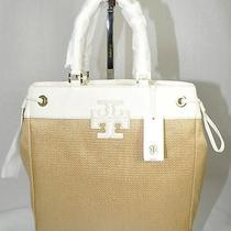 Nwt Auth Tory Burch Star Stacked Logo Ns Tote Natural Bleach 28159647 Photo