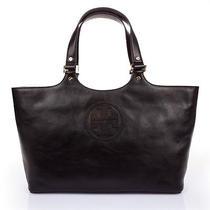 Nwt Auth Tory Burch Tb Logo Clayton Burch Shopper Black Leather Tote Bag Purse Photo