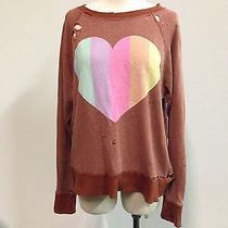 Nwt Auth Wildfox Couture Prism Heart Destroyed Sweater Brick Sz M Photo