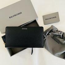 Nwt Authentic Balenciaga Black Logo Continental Gold Zippier Wallet Photo