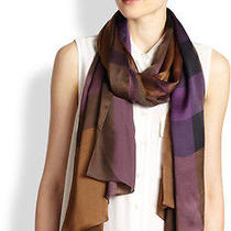 Nwt Authentic Burberry Women Mega Check Satin Silk Scarf Dark Camel Check 375 Photo