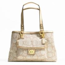 Nwt Authentic Coach Handbag Linen and Gold Leather Trim F19231 328  Photo