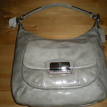 Nwt Authentic Coach Kristin Grey Patent Leather Convertable Hobo Handbag  Photo