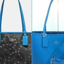 Nwt Authentic Coach Leather Large Blue Tote Reversible Star W/matching Wristlet Photo