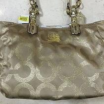 Nwt Authentic Coach Op Art Signature Mia Lurex Tote Bag 15746 Gold Photo