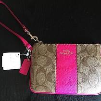 Nwt Authentic Coach Signature Pvc Pink Ruby Khaki Wristlet Box Photo