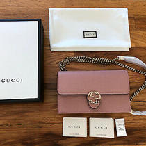 Nwt Authentic Gucci Dollar Calf Wallet Chain Crossbody Bag Clutch Purse Leather Photo