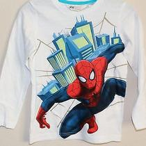 Nwt Authentic h&m Kids Boy's Long Sleeves Marvel Spiderman Graphic Shirt Top 4-6 Photo