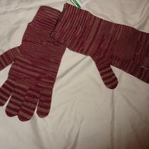 Nwt Authentic Missoni Knit Burgundy/beige Wool Gloves/mittens Photo
