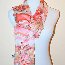 Nwt Authentic Salvatore Ferragamo Orange Long Flower Silk Italy Multicolor Scarf Photo