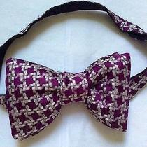 Nwt Authentic Tom Ford Silk Houndstooth Bowtie Light Purple Silver Burgundy. Photo