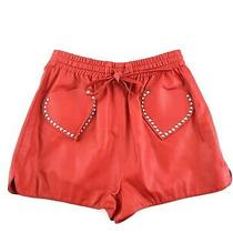 Nwt Authentic Valentino Red Heart Leather Studded High Rise Shorts 42 Photo