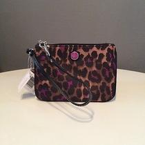 Nwt Authentic Violet & Cheetah Print Coach Wristlet Photo