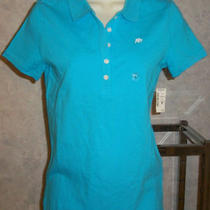 Nwt Awesome Aqua Knit Shirt Blouse Collar Short Sleeves Aeropostale Stretch L Photo