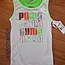 Nwt Awesome Puma Girls Shimmer Glitter Tossed Logo Tank Szlarge 22 White Photo