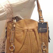 Nwt B. Makowsky Glove Leather Pocket Tote W/ Topstitch Detailvintage Pumpkin Photo