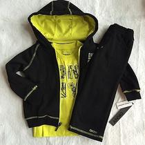 Nwt Baby Boys 3pc Dkny Neon Yellow & Black Outfit Set Hoodie Shirt Pants 24 Mo Photo