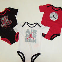Nwt Baby Boys 3pc Nike Air Jordan Bodysuit Romper Shirt Outfit Set 12m New  Photo