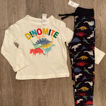Nwt Baby Gap 2t Logo L/s Pants Dinosaur Outfit Blue Red White Mustard Yellow Boy Photo