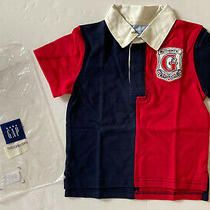 Nwt Baby Gap 3 3t Colorblock Navy & Red Short Sleeve Rugby League Polo Shirt Photo