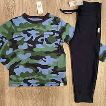 Nwt Baby Gap 4t/4yrs L/s Camoflauge Shirt Pants Outfit Navy Blue Green Boys Photo