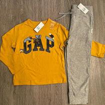 Nwt Baby Gap 5t/5yrs Yellow Mustard L/s Shirt Pants Logo Outfit Gray Pants Boys Photo