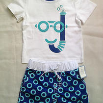 Nwt Baby Gap Boy's Snorkel Graphic Swim T & Donut Ring Swim Trunks Set (0-3 m) Photo
